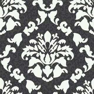 , BLACK AND WHITE DRAMATIC DAMASK W/ LEOPARD PRINT WALLPAPER PW3935
