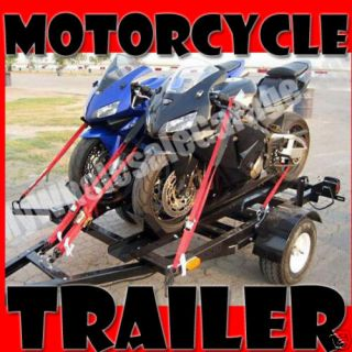 FOLD Stand Up Dual Bike Motorcycle Open Trailer NEW 4x6 Two Rails