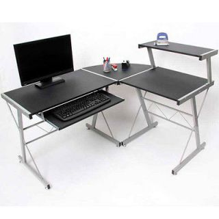 Corner Desk Office Computer Desk L Shaped Table Black Workstation