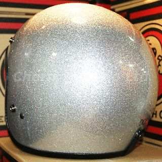 Vintage BIG Metalflake Silver Motorcycle Street Bike Open Face Helmet