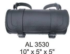 New Black Cowhide Leather Motorcycle Tool Bag Fork Bag Luggage fits