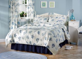 Nautical Seashell Sea Shell Coral Seaside Blue Comforter Full Queen