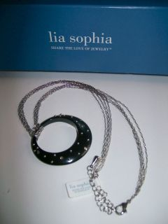 Sophia BLACK CIRCLE PENDANT W/ CRYSTALS & SILVER DOTS NECKLACE / NWT