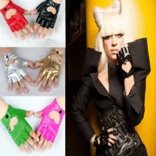 High quality PU leather gloves ladys heart fingerless lady gloves