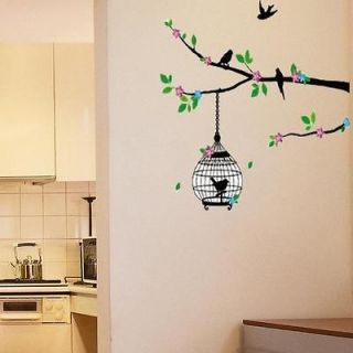 Pink Bird Cage Removable Wall Decals Vinyl Decor Sticker for Room