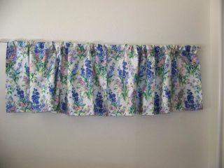 LAURA ASHLEY BLUE/LAVENDER & PINK FLORAL VALANCE 82 X 18