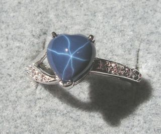 LINDE LINDY CORNFLWR BLUE STAR SAPPHIRE CREATED SS RING
