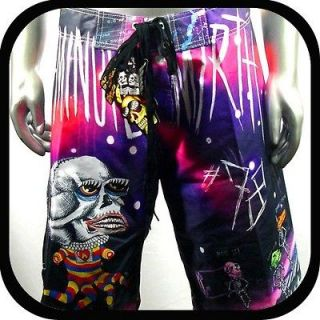 Shorts Trunks Board Tattoo Surf K7 Sz 38 Skate Rock bmx Beach Vtg