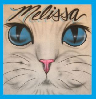 Custom Airbrushed CAT EYES DESIGN WITH NAME T Shirt
