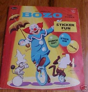 Bozo the Clown Sticker Fun Book Stickers 1966
