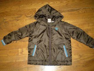 Brown Medium Heavy Weight Coat Jacket w/ Hood Water Resistant sz 4T