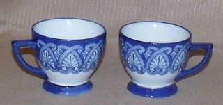 Bombay China Cobalt Blue White Coffee Tea Cup with Platinum Trim