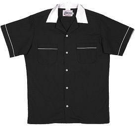 KIDS Black/WhiteCLASSIC Retro Bowling shirt BIRTHDAY PARTY FUN Button