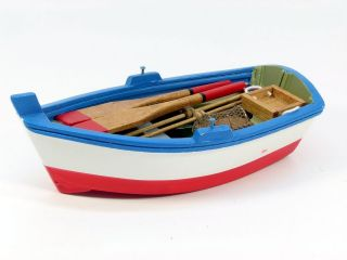 Small wooden model rowing boat, 15cm, choice of 2 colours, nautical