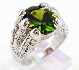 Jewelry Mens Solitare Green Peridot 10KT white Gold Filled Ring Size