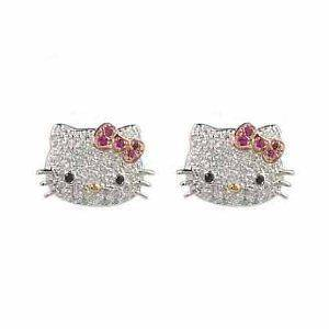 Silver Plated Hello Kitty Crystal CZ Stud Earrings w/ pink bow