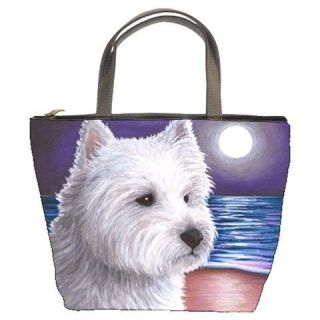 Bucket bag purse from art painting Dog 81 Westie West Highland White