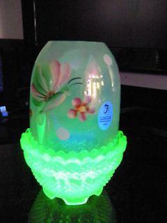 FENTON ART Glass FAIRY LIGHT LAMP Butterfly Vaseline Green Handpainted