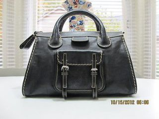 Authentic Chloe Edith Black Leather Handbag Purse