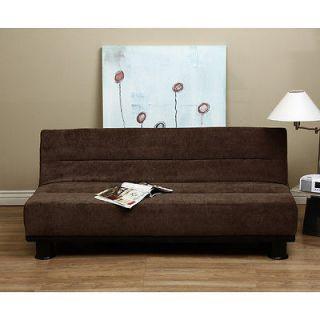 Microfiber Adjustable Sofa Bed Brown Futon Jack Knife Couch RV Room