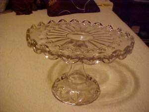 Vintage Pressed Glass Pedestal Cake Stand w/ Brandy Well