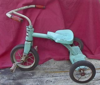 VINTAGE STEEL TRICYCLE MTD CLEVELAND OHIO 20 tall 9 FRONT WHEEL 7