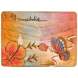 Genuine Leather Credit Card Holder Hand Painted Butterfly Rose Flowers