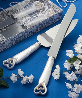 INTERLOCKING HEART WEDDING CAKE KNIFE SERVER SETBRIDAL WEDDING FAVOR