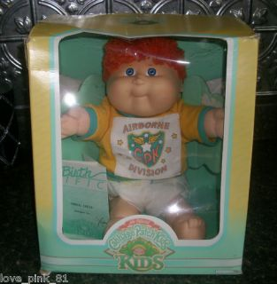 VINTAGE CABBAGE PATCH KIDS DOLL BOY W/ BOX AIRBORNE RED HAIR STUFFED