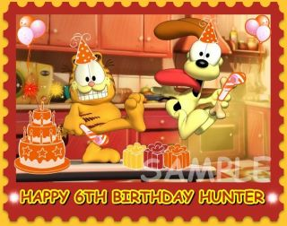 GARFIELD AND ODIE FROSTING SHEET EDIBLE CAKE TOPPER DECORATION IMAGE