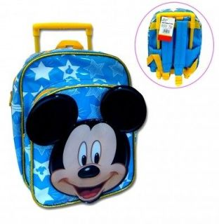 KIDS BLUE DISNEY MICKEY MOUSE MINI TROLLEY BAG TRAVEL SUITCASE