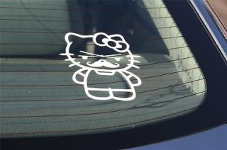 KITTY MUSTACHE Auto Car Truck Girl Vinyl Graphic Window Sticker Decal