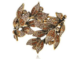 Topaz Indian Red Crystal Rhinestone Gold Tone Leaf Plant Bracelet