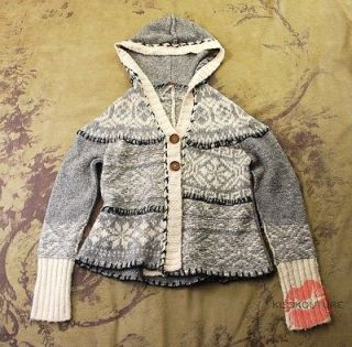 FREE PEOPLE GRAY KNIT HOODED FAIR ISLE CARDIGAN SWEATER COAT TOP M