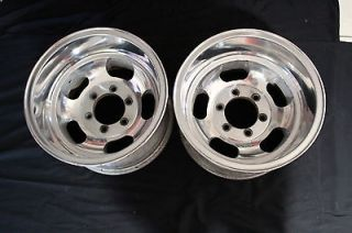 Slot Mag Polished Alloy Wheels 6 lug Chevy Gasser Rat Rod GMC Rims