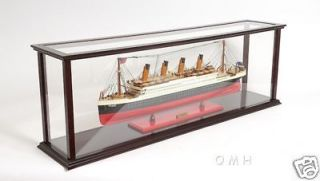 Wooden Table Top Ship Model Display Case For 40 Ocean Liner & Cruise