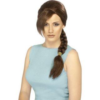 Womens Lara Croft Tomb Raider Wig Smiffys Fancy Dress Costume
