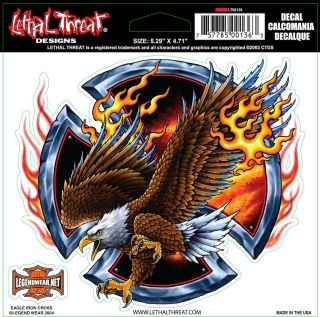 Threat Iron Cross Eagle Decal Sticker for Cars Motorcycles Trucks RV