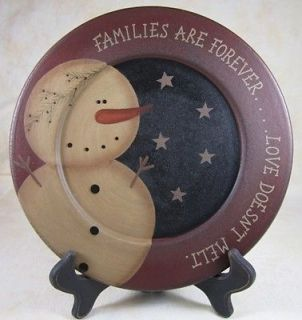 Country Snowman Families Are Forever Love Doesnt Melt Wooden Plate