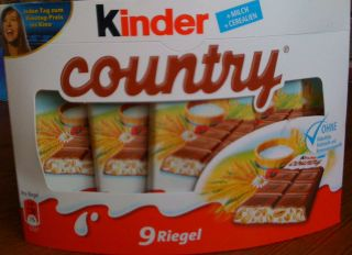 KINDER COUNTRY chocolate bars 207g  9pc from germany with 5 cereals