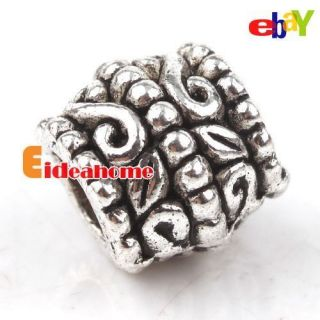 35x Wave charms alloy large hole silver plated beads fit chains 151675