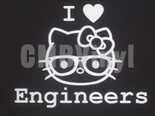 Hello Kitty I Heart Engineers Vinyl Decal/Sticker Car Laptop Window
