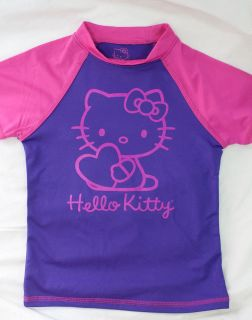 Youth Girls Purple Pink Hello Kitty Short Sleeve Shirt Top Tee