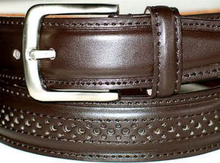 Mens BROWN Leather CASUAL DESIGN Dress Belt Silver Buckle 32 34 x 1