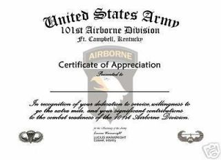 101st Airborne Certificate of Appreciation U.S. Army