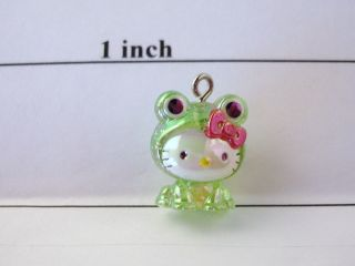 Hello Kitty Plastic Charm NEW Glittery Frog Kitty