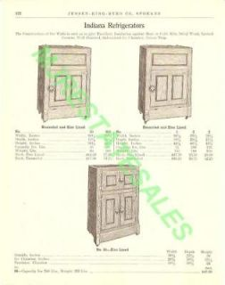 1911 Antique Indiana Wood Ice Box Refrigerator AD
