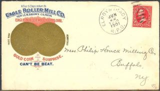 EAGLE ROLLER MILL GOLD COIN AD COVER   SCARCE & VF