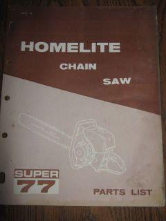 Vintage Homelite SUPER 77 Chainsaw Parts List Manual