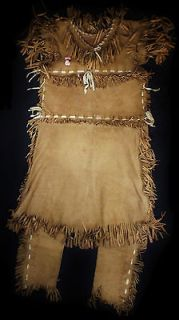 Old Vg Indian Plains Hide SIOUX Naive American Beaded Girl Dress